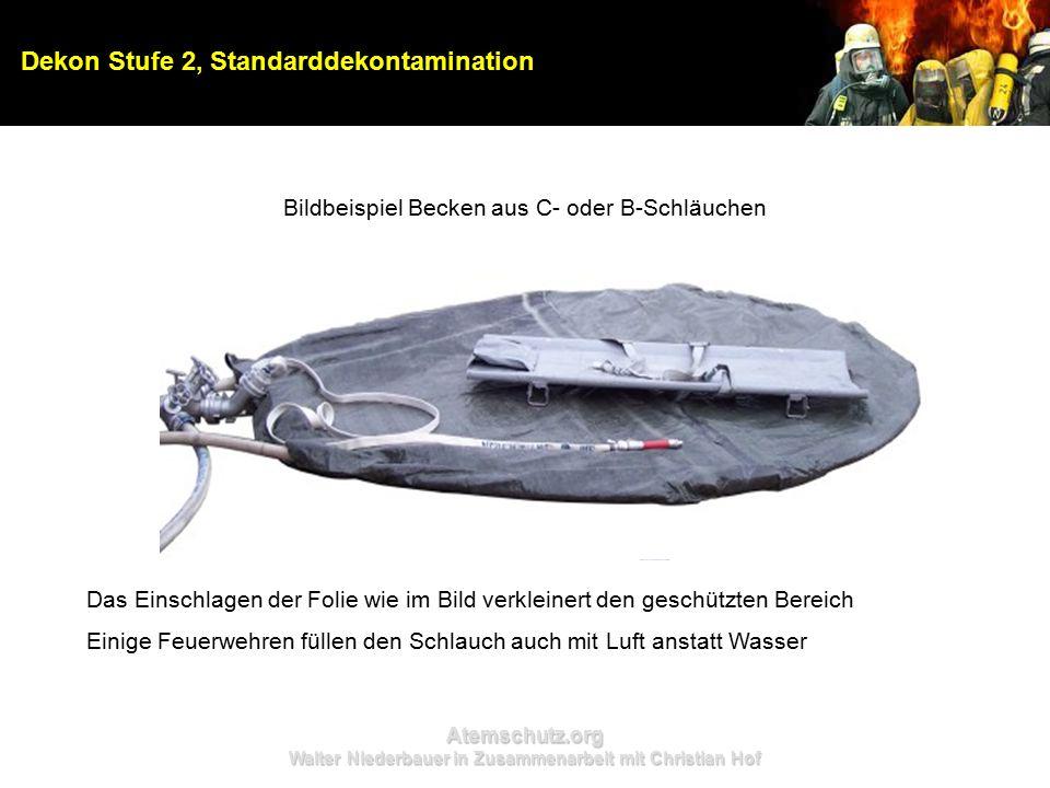 Atemschutz.org Walter Niederbauer in Zusammenarbeit mit Christian Hof Dekon Stufe 2, Standarddekontamination Bildbeispiel Becken aus C- oder B-Schläuc