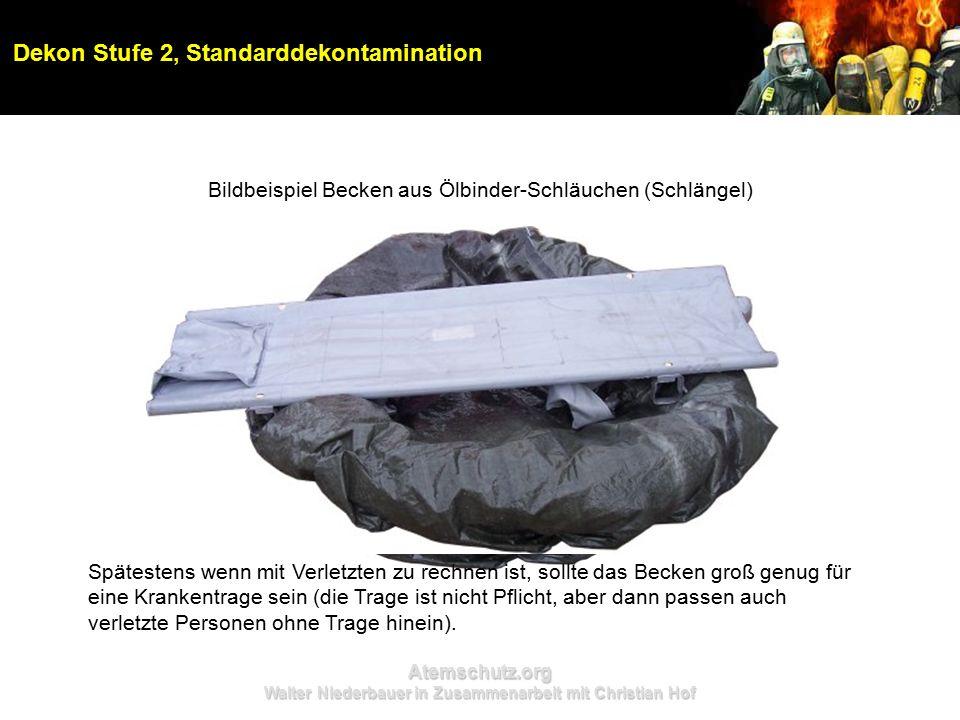 Atemschutz.org Walter Niederbauer in Zusammenarbeit mit Christian Hof Dekon Stufe 2, Standarddekontamination Bildbeispiel Becken aus Ölbinder-Schläuch