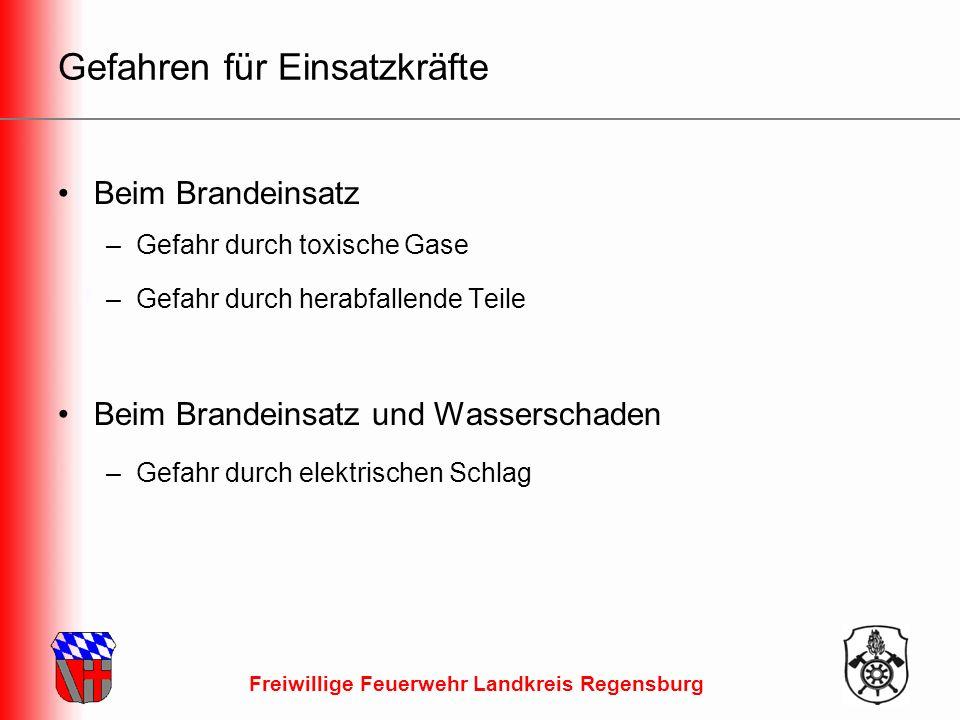 Freiwillige Feuerwehr Landkreis Regensburg Gefahren für Einsatzkräfte Beim Brandeinsatz –Gefahr durch toxische Gase –Gefahr durch herabfallende Teile Beim Brandeinsatz und Wasserschaden –Gefahr durch elektrischen Schlag