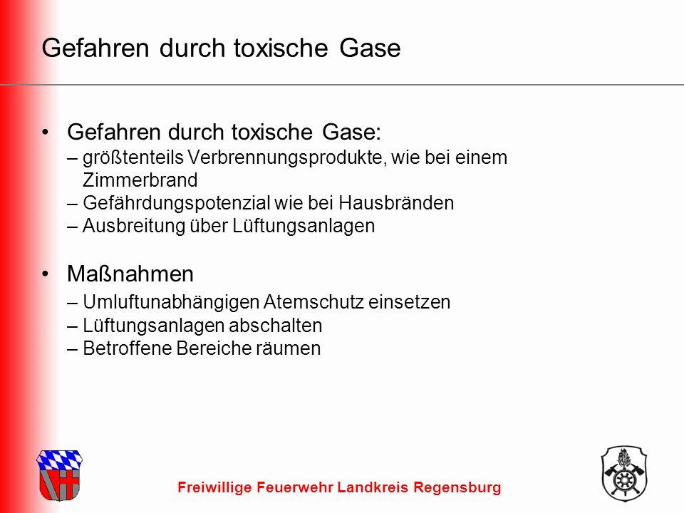 Freiwillige Feuerwehr Landkreis Regensburg Gefahren durch toxische Gase Gefahren durch toxische Gase: – größtenteils Verbrennungsprodukte, wie bei einem Zimmerbrand – Gefährdungspotenzial wie bei Hausbränden – Ausbreitung über Lüftungsanlagen Maßnahmen – Umluftunabhängigen Atemschutz einsetzen – Lüftungsanlagen abschalten – Betroffene Bereiche räumen