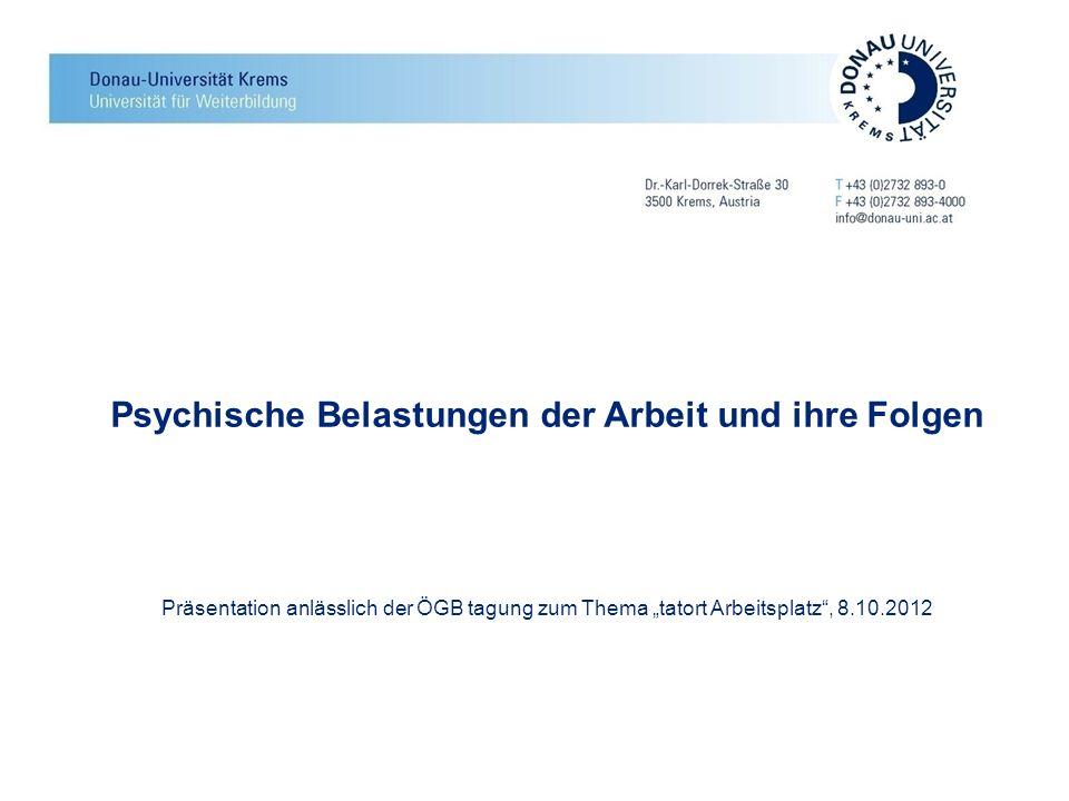 """Psychische Belastungen der Arbeit und ihre Folgen Präsentation anlässlich der ÖGB tagung zum Thema """"tatort Arbeitsplatz , 8.10.2012"""