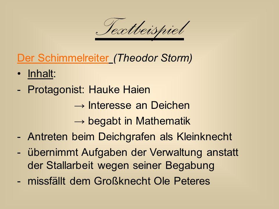 Textbeispiel Der Schimmelreiter (Theodor Storm) Inhalt: -Protagonist: Hauke Haien → Interesse an Deichen → begabt in Mathematik -Antreten beim Deichgr