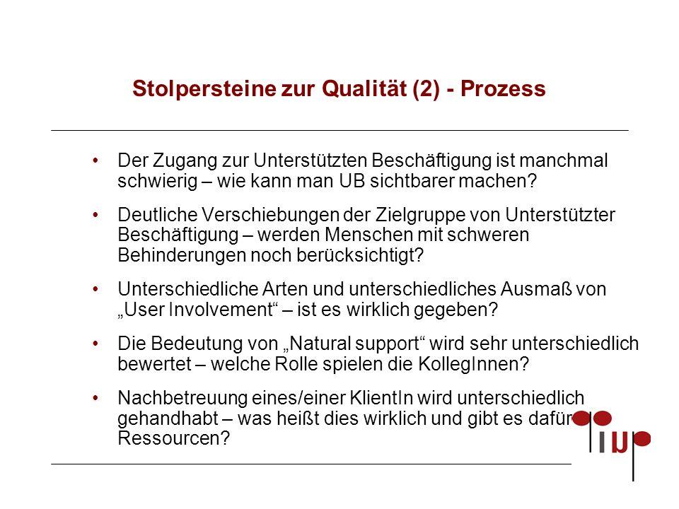 Stolpersteine zur Qualität (2) - Prozess Der Zugang zur Unterstützten Beschäftigung ist manchmal schwierig – wie kann man UB sichtbarer machen.