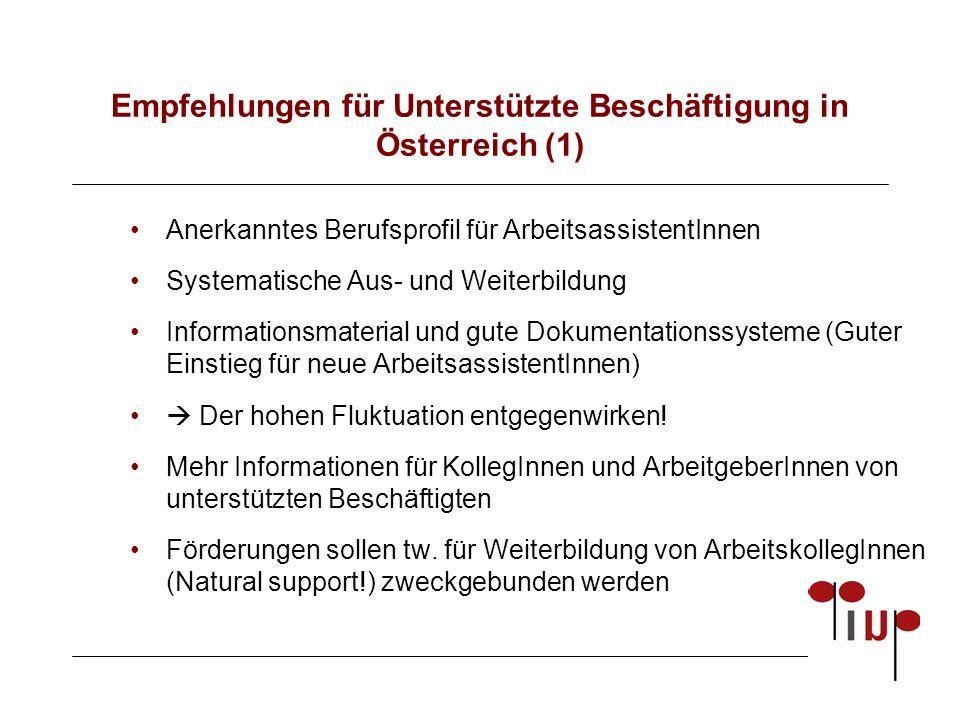 Empfehlungen für Unterstützte Beschäftigung in Österreich (1) Anerkanntes Berufsprofil für ArbeitsassistentInnen Systematische Aus- und Weiterbildung Informationsmaterial und gute Dokumentationssysteme (Guter Einstieg für neue ArbeitsassistentInnen)  Der hohen Fluktuation entgegenwirken.