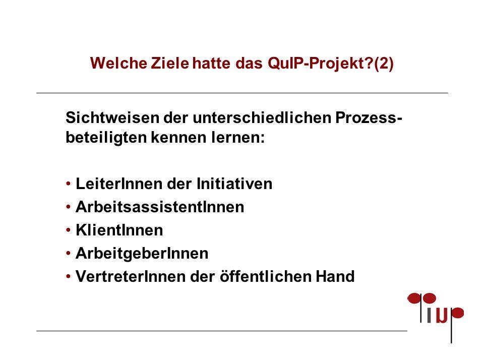 Welche Ziele hatte das QuIP-Projekt?(2) Sichtweisen der unterschiedlichen Prozess- beteiligten kennen lernen: LeiterInnen der Initiativen ArbeitsassistentInnen KlientInnen ArbeitgeberInnen VertreterInnen der öffentlichen Hand