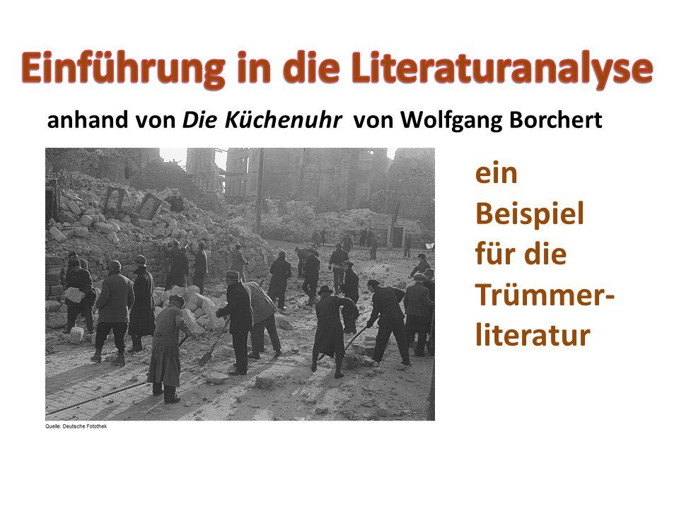 Die Küchenuhr (Text) http://www.tyskopgaver.dk/kuechenuhr.htmInterpretation Interpretation: http://www.leixoletti.de/interpretationen/kuechenuhr.htm Übungen zum Wortschatzlernen http://www.quia.com/hm/416775.html Leben und Werk: http://de.wikipedia.org/wiki/Wolfgang_Borchert Youtube http://www.youtube.com/watch?v=IgI4B3deNPEhttp://www.youtube.com/watch?v=IgI4B3deNPE (leicht abgeändert, aber immerhin sehenswert)