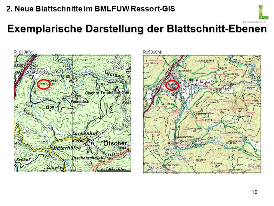 10 Exemplarische Darstellung der Blattschnitt-Ebenen 2. Neue Blattschnitte im BMLFUW Ressort-GIS