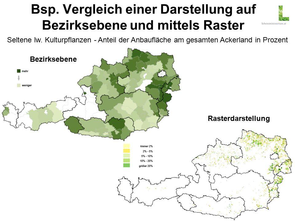 18 Bsp. Vergleich einer Darstellung auf Bezirksebene und mittels Raster Seltene lw.