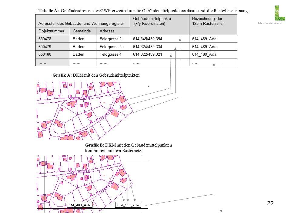 22 Tabelle A: Gebäudeadressen des GWR erweitert um die Gebäudemittelpunktkoordinate und die Rasterbezeichnung Adressteil des Gebäude- und Wohnungsregister Gebäudemittelpunkte (x/y-Koordinaten) Bezeichnung der 125m-Rasterzellen ObjektnummerGemeindeAdresse 650478BadenFeldgasse 2614.345/489.354614_489_Ada 650479BadenFeldgasse 2a614.324/489.334614_489_Ada 650480BadenFeldgasse 4614.322/489.321614_489_Ada …….…… …..