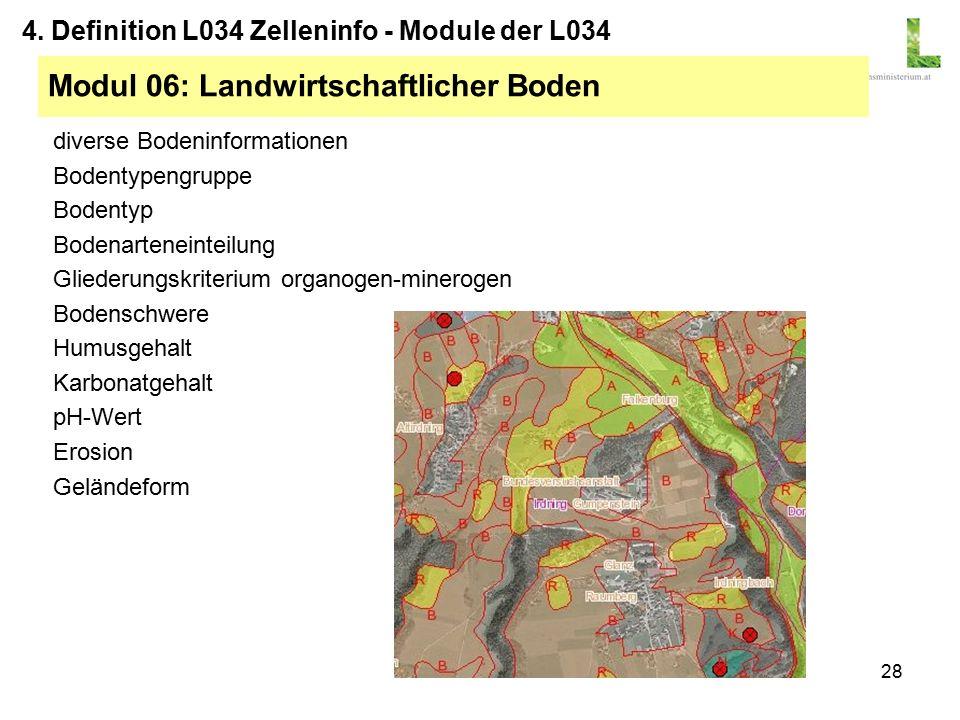 28 diverse Bodeninformationen Bodentypengruppe Bodentyp Bodenarteneinteilung Gliederungskriterium organogen-minerogen Bodenschwere Humusgehalt Karbonatgehalt pH-Wert Erosion Geländeform Modul 06: Landwirtschaftlicher Boden 4.