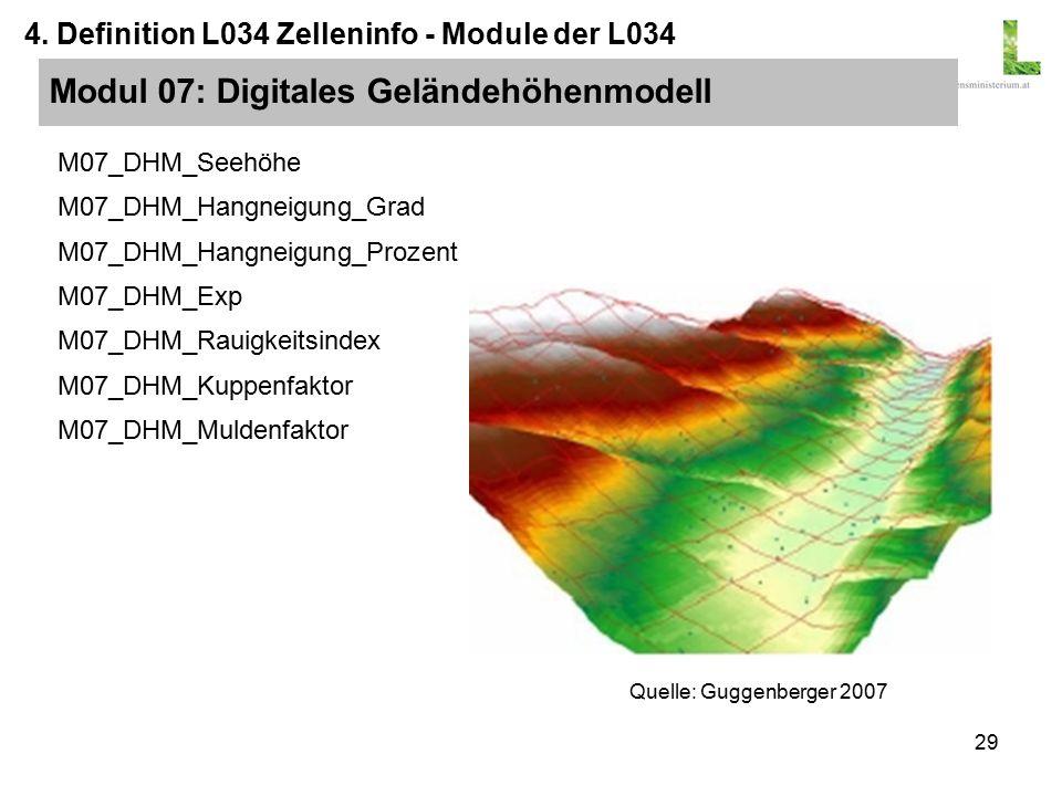 29 M07_DHM_Seehöhe M07_DHM_Hangneigung_Grad M07_DHM_Hangneigung_Prozent M07_DHM_Exp M07_DHM_Rauigkeitsindex M07_DHM_Kuppenfaktor M07_DHM_Muldenfaktor Modul 07: Digitales Geländehöhenmodell 4.