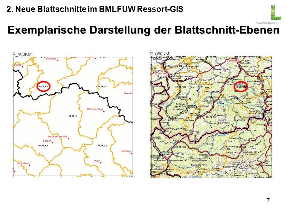 7 Exemplarische Darstellung der Blattschnitt-Ebenen 2. Neue Blattschnitte im BMLFUW Ressort-GIS
