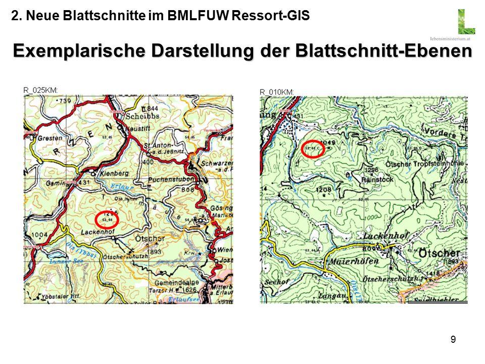 9 Exemplarische Darstellung der Blattschnitt-Ebenen 2. Neue Blattschnitte im BMLFUW Ressort-GIS