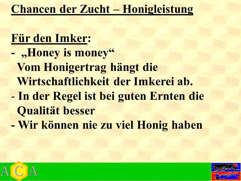 """Chancen der Zucht – Honigleistung Für den Imker: - """"Honey is money Vom Honigertrag hängt die Wirtschaftlichkeit der Imkerei ab."""