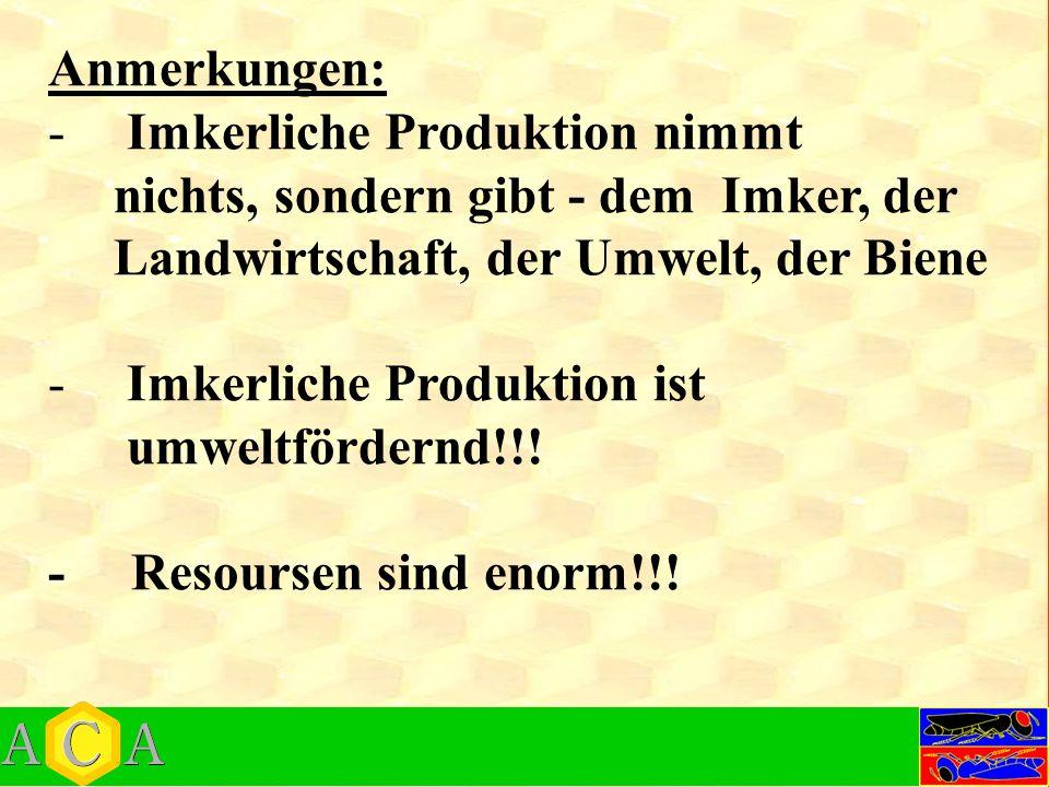 Anmerkungen: -Imkerliche Produktion nimmt nichts, sondern gibt - dem Imker, der Landwirtschaft, der Umwelt, der Biene -Imkerliche Produktion ist umweltfördernd!!.