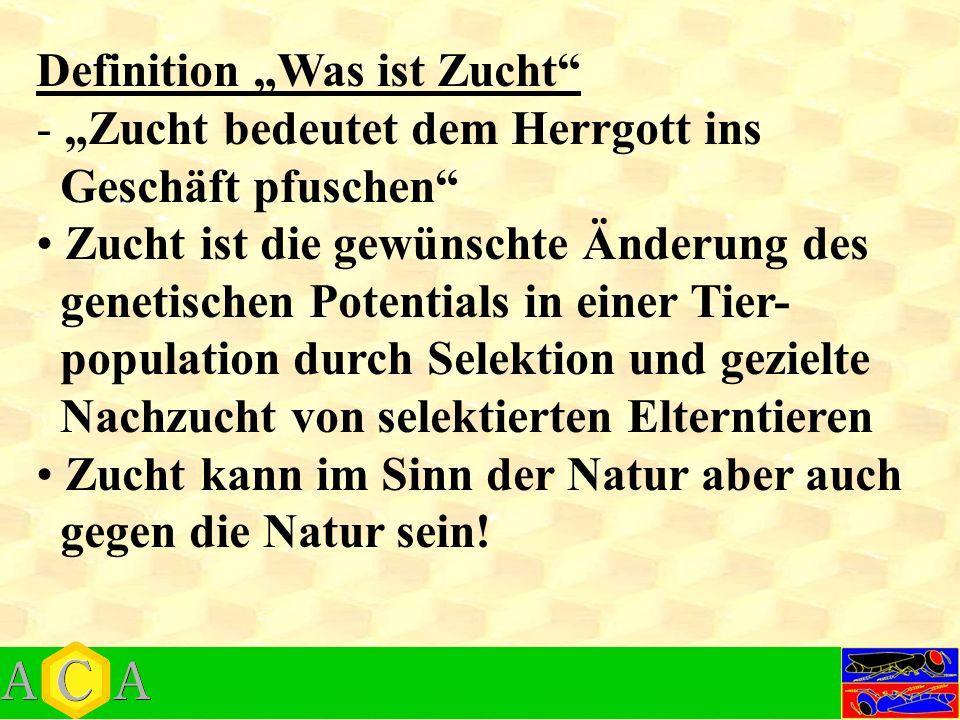 """Definition """"Was ist Zucht - """"Zucht bedeutet dem Herrgott ins Geschäft pfuschen Zucht ist die gewünschte Änderung des genetischen Potentials in einer Tier- population durch Selektion und gezielte Nachzucht von selektierten Elterntieren Zucht kann im Sinn der Natur aber auch gegen die Natur sein!"""