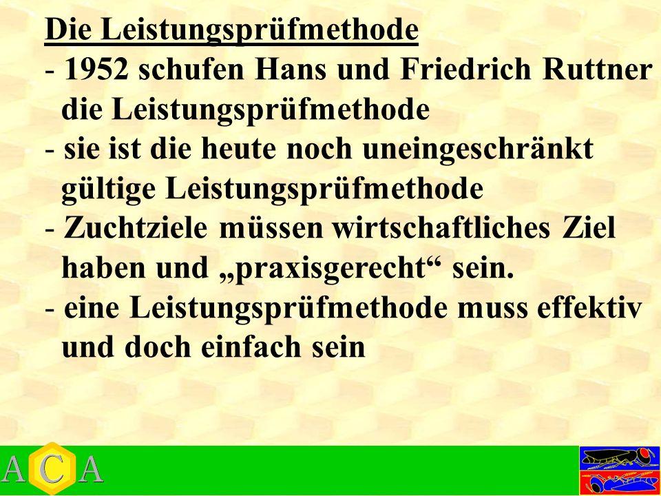 """Die Leistungsprüfmethode - 1952 schufen Hans und Friedrich Ruttner die Leistungsprüfmethode - sie ist die heute noch uneingeschränkt gültige Leistungsprüfmethode - Zuchtziele müssen wirtschaftliches Ziel haben und """"praxisgerecht sein."""