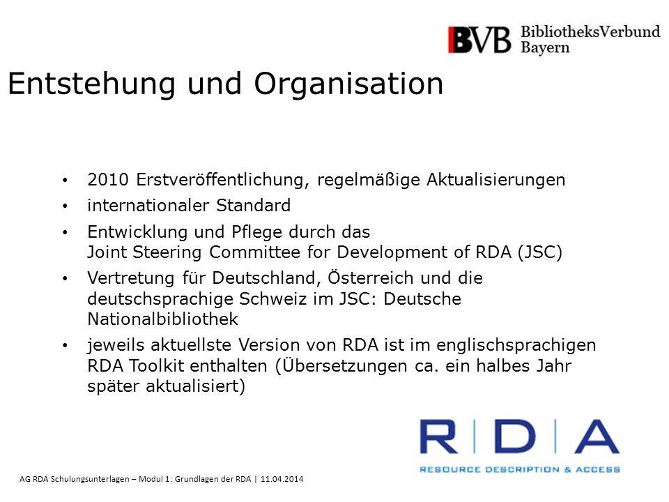 10 AG RDA Schulungsunterlagen – Modul 1: Grundlagen der RDA | 11.04.2014 Entstehung und Organisation 2010 Erstveröffentlichung, regelmäßige Aktualisie