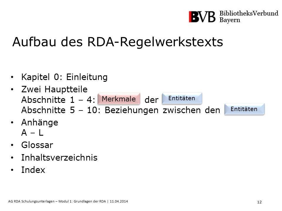 12 AG RDA Schulungsunterlagen – Modul 1: Grundlagen der RDA | 11.04.2014 Aufbau des RDA-Regelwerkstexts Kapitel 0: Einleitung Zwei Hauptteile Abschnit