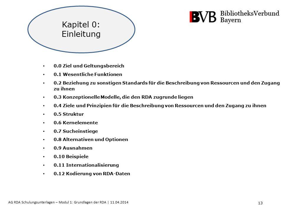 13 AG RDA Schulungsunterlagen – Modul 1: Grundlagen der RDA | 11.04.2014 0.0 Ziel und Geltungsbereich 0.1 Wesentliche Funktionen 0.2 Beziehung zu sons