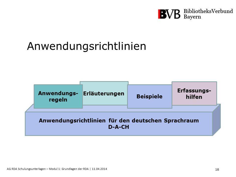 18 AG RDA Schulungsunterlagen – Modul 1: Grundlagen der RDA | 11.04.2014 Anwendungsrichtlinien Anwendungsrichtlinien für den deutschen Sprachraum D-A-CH Erläuterungen Beispiele Erfassungs- hilfen Anwendungs- regeln