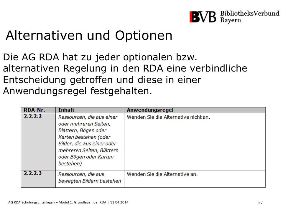 22 AG RDA Schulungsunterlagen – Modul 1: Grundlagen der RDA | 11.04.2014 Alternativen und Optionen Die AG RDA hat zu jeder optionalen bzw. alternative