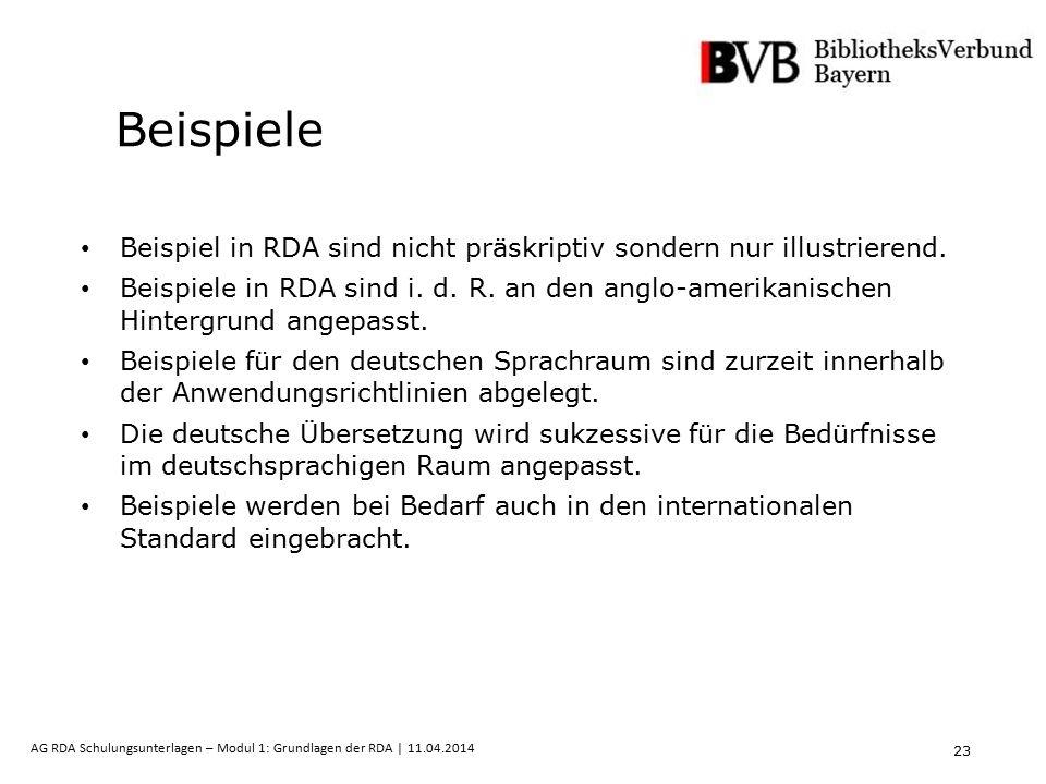 23 AG RDA Schulungsunterlagen – Modul 1: Grundlagen der RDA | 11.04.2014 Beispiele Beispiel in RDA sind nicht präskriptiv sondern nur illustrierend. B