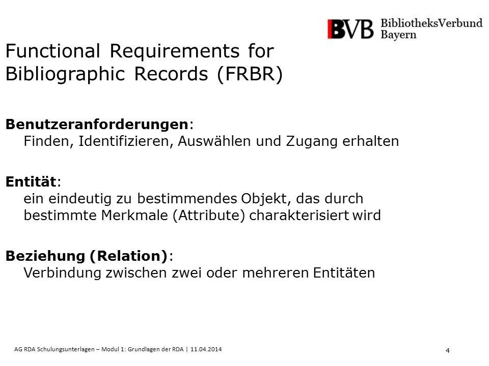 15 AG RDA Schulungsunterlagen – Modul 1: Grundlagen der RDA | 11.04.2014 ABSCHNITT 4: ERFASSEN DER MERKMALE von BEGRIFF, GEGENSTAND, EREIGNIS & ORT KAPITEL 12.