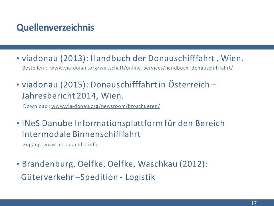 Quellenverzeichnis viadonau (2013): Handbuch der Donauschifffahrt, Wien. Bestellen : www.via-donau.org/wirtschaft/online_services/handbuch_donauschiff