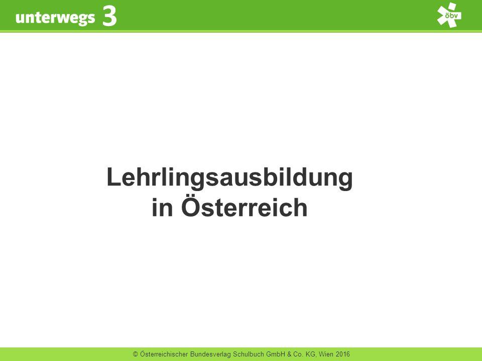 © Österreichischer Bundesverlag Schulbuch GmbH & Co. KG, Wien 2016 3 Lehrlingsausbildung in Österreich