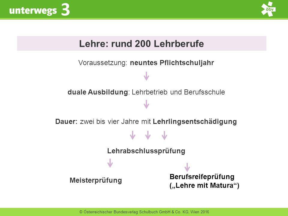 © Österreichischer Bundesverlag Schulbuch GmbH & Co. KG, Wien 2016 3 Lehre: rund 200 Lehrberufe Voraussetzung: neuntes Pflichtschuljahr duale Ausbildu