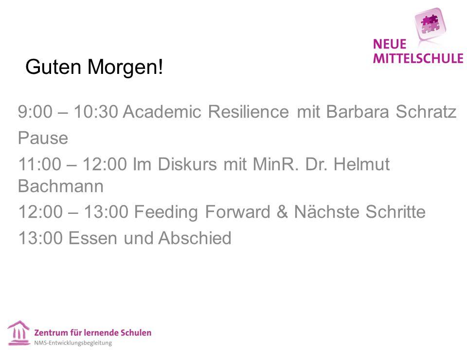 Guten Morgen! 9:00 – 10:30 Academic Resilience mit Barbara Schratz Pause 11:00 – 12:00 Im Diskurs mit MinR. Dr. Helmut Bachmann 12:00 – 13:00 Feeding