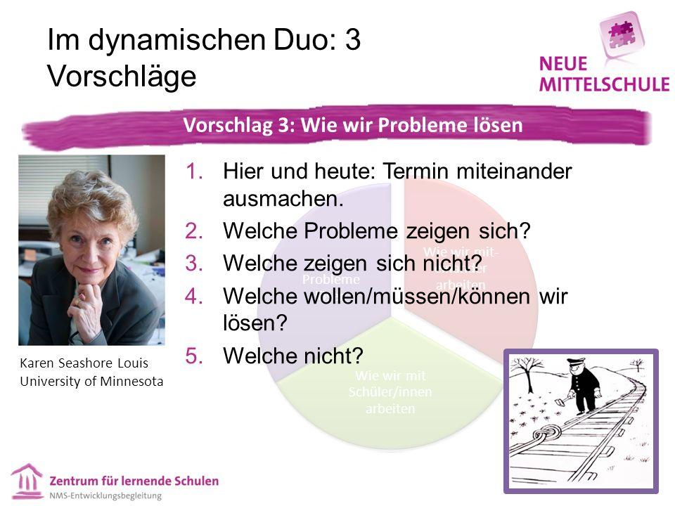 Wie wir mit- einander arbeiten Wie wir mit Schüler/innen arbeiten Wie wir Probleme lösen Im dynamischen Duo: 3 Vorschläge 1.Hier und heute: Termin miteinander ausmachen.