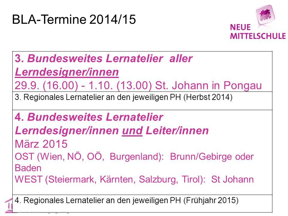 BLA-Termine 2014/15 3. Bundesweites Lernatelier aller Lerndesigner/innen 29.9. (16.00) - 1.10. (13.00) St. Johann in Pongau 3. Regionales Lernatelier
