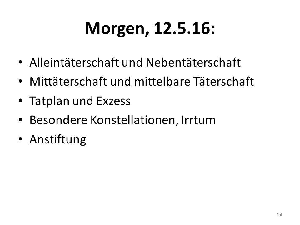 Morgen, 12.5.16: Alleintäterschaft und Nebentäterschaft Mittäterschaft und mittelbare Täterschaft Tatplan und Exzess Besondere Konstellationen, Irrtum