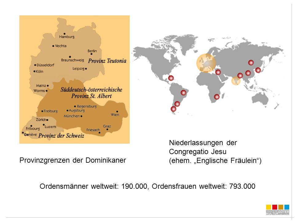 Provinzgrenzen der Dominikaner Niederlassungen der Congregatio Jesu (ehem.