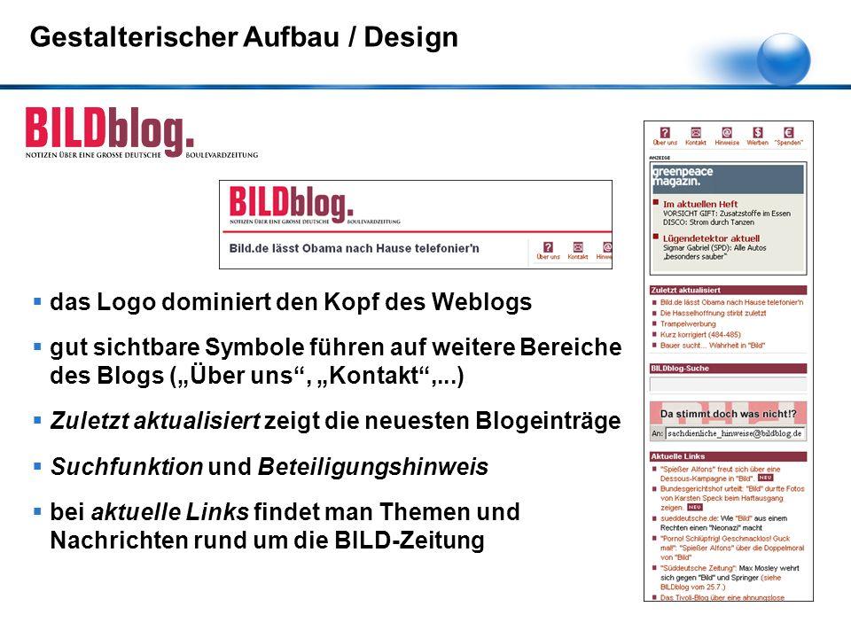 """ das Logo dominiert den Kopf des Weblogs  gut sichtbare Symbole führen auf weitere Bereiche des Blogs (""""Über uns"""", """"Kontakt"""",...)  Zuletzt aktualis"""