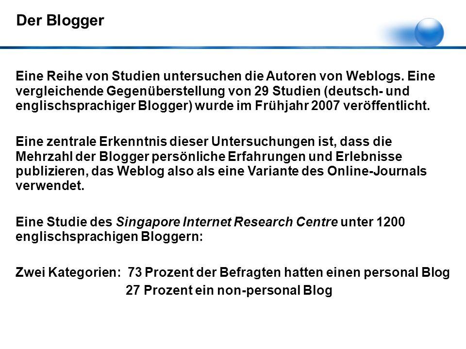 Eine Reihe von Studien untersuchen die Autoren von Weblogs.