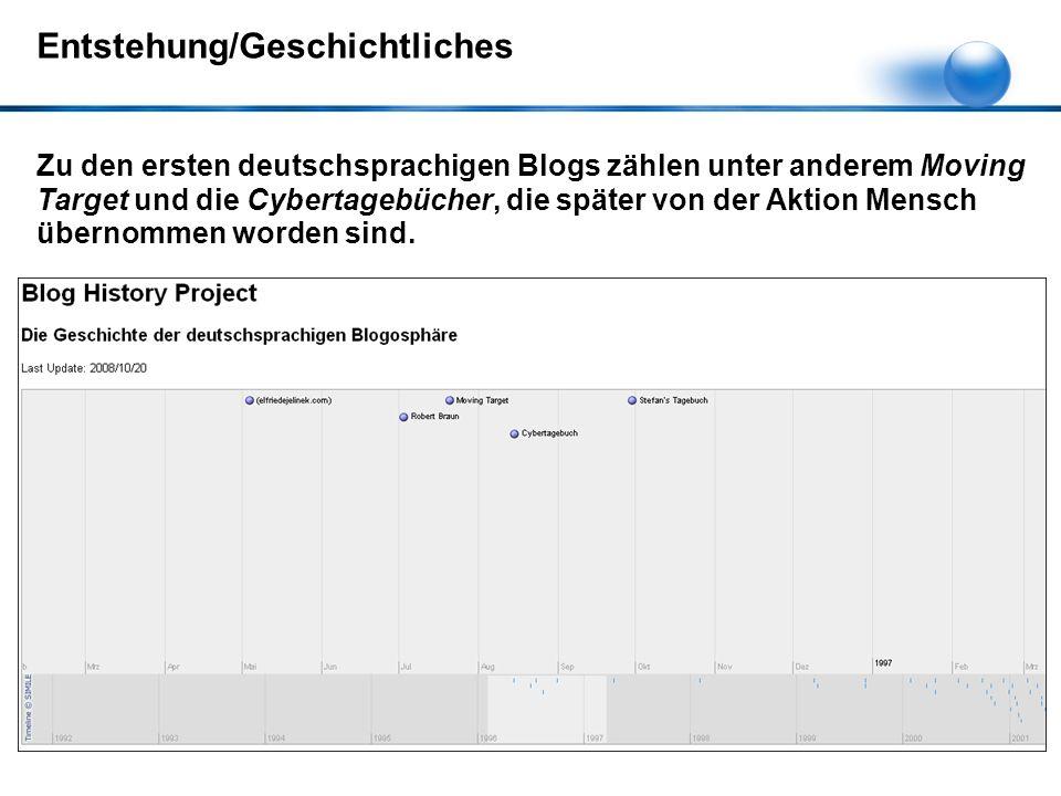 Zu den ersten deutschsprachigen Blogs zählen unter anderem Moving Target und die Cybertagebücher, die später von der Aktion Mensch übernommen worden sind.
