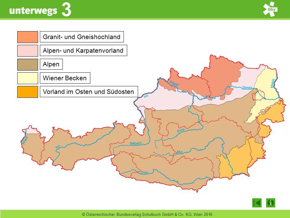 unterwegs 3 3 © Österreichischer Bundesverlag Schulbuch GmbH & Co. KG, Wien 2016 Granit- und Gneishochland Alpen- und Karpatenvorland Alpen Wiener Bec