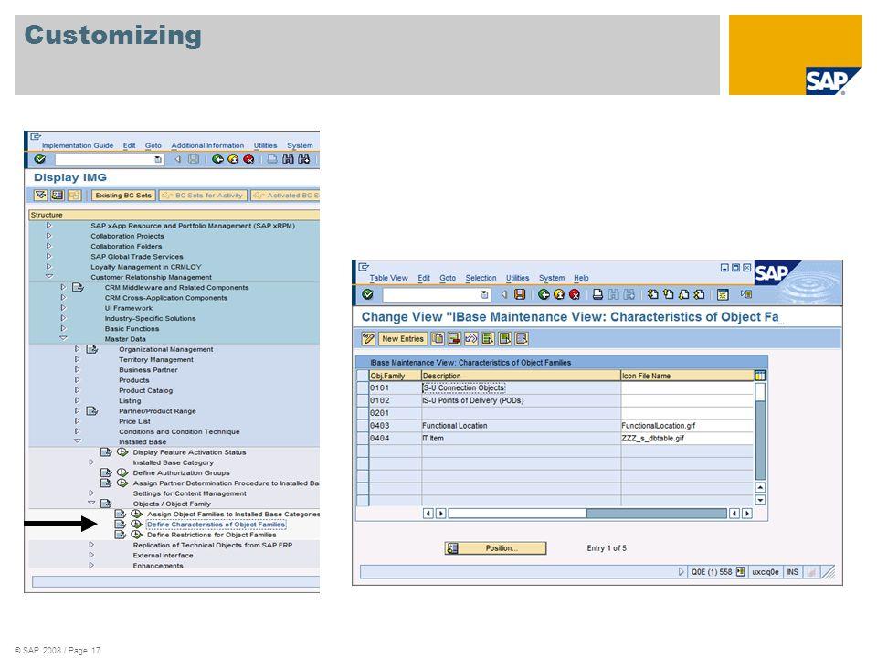 © SAP 2008 / Page 17 Customizing