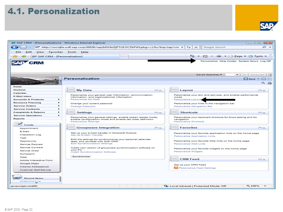 © SAP 2008 / Page 20 4.1. Personalization