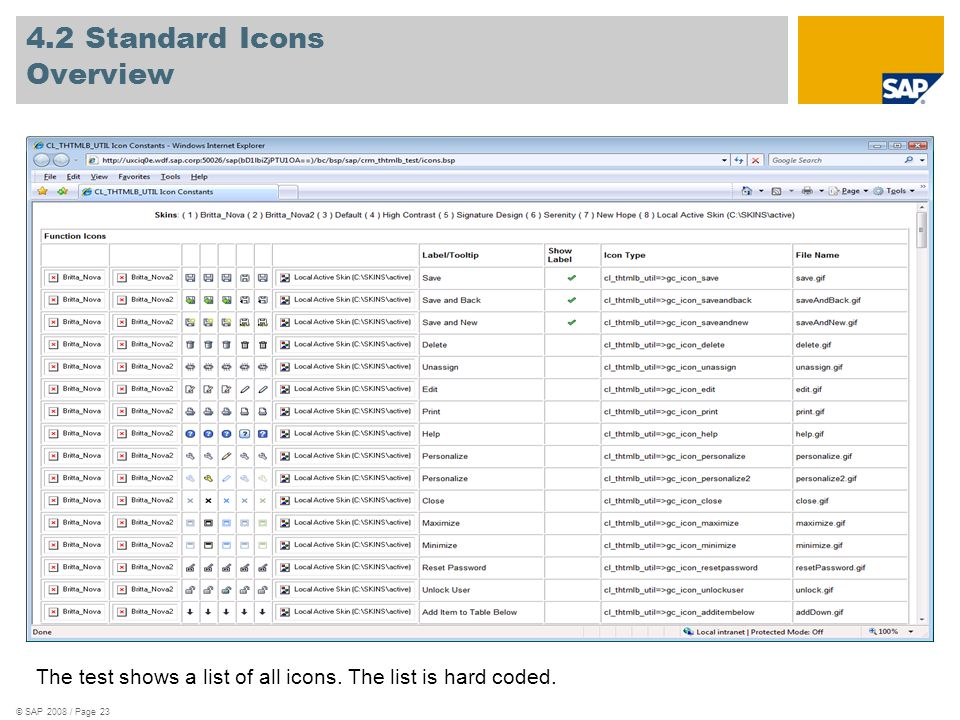 © SAP 2008 / Page 23 4.2 Standard Icons Overview The test shows a list of all icons. The list is hard coded.