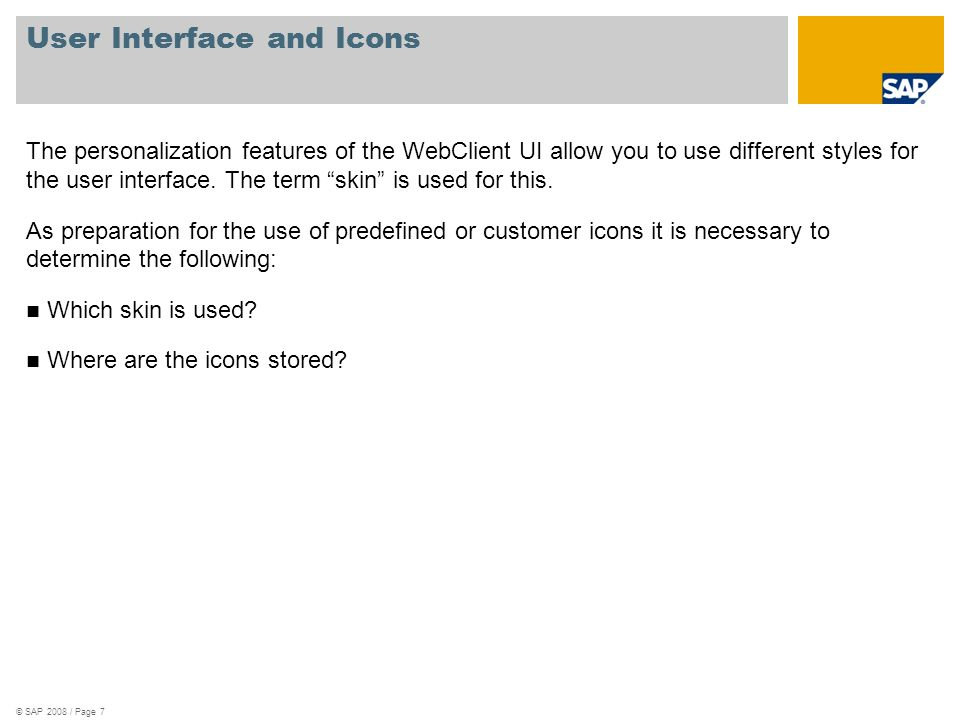 © SAP 2008 / Page 7 User Interface and Icons The personalization features of the WebClient UI allow you to use different styles for the user interface.