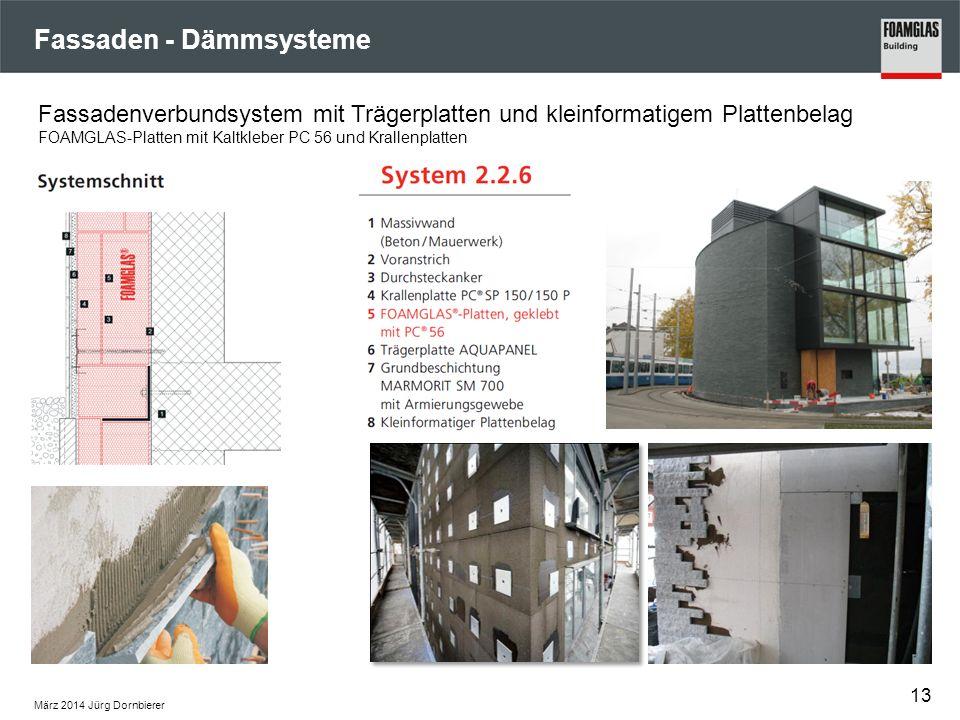 Fassaden - Dämmsysteme März 2014 Jürg Dornbierer 13 Fassadenverbundsystem mit Trägerplatten und kleinformatigem Plattenbelag FOAMGLAS-Platten mit Kalt