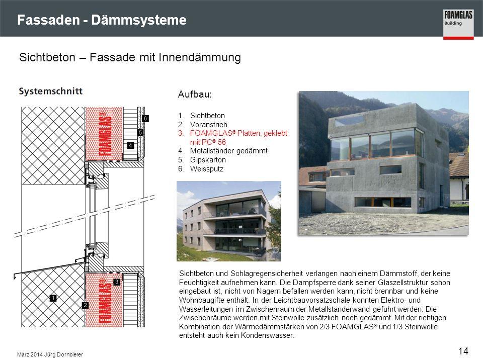 Fassaden - Dämmsysteme März 2014 Jürg Dornbierer 14 Sichtbeton – Fassade mit Innendämmung Aufbau: 1.Sichtbeton 2.Voranstrich 3.FOAMGLAS ® Platten, gek
