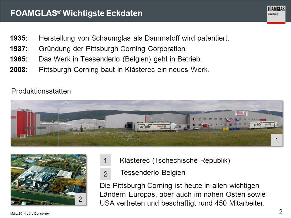März 2014 Jürg Dornbierer FOAMGLAS ® Wichtigste Eckdaten 1935: Herstellung von Schaumglas als Dämmstoff wird patentiert. 1937:Gründung der Pittsburgh