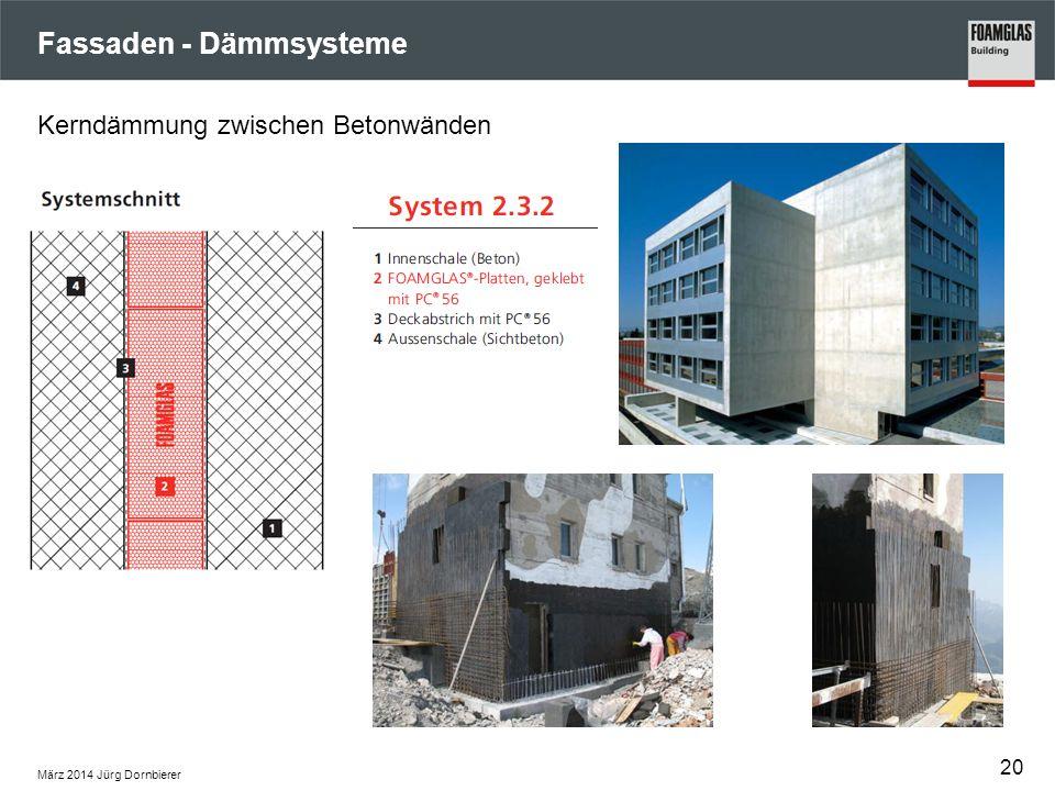 Fassaden - Dämmsysteme März 2014 Jürg Dornbierer 20 Kerndämmung zwischen Betonwänden