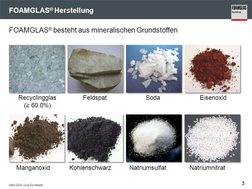 März 2014 Jürg Dornbierer FOAMGLAS ® Herstellung FOAMGLAS ® besteht aus mineralischen Grundstoffen Recyclingglas (≥ 60.0%) FeldspatSodaEisenoxid ManganoxidKohlenschwarzNatriumsulfatNatriumnitrat 3