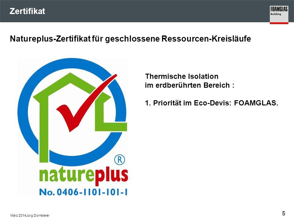 Zertifikat März 2014Jürg Dornbierer Natureplus-Zertifikat für geschlossene Ressourcen-Kreisläufe 5 Thermische Isolation im erdberührten Bereich : 1. P